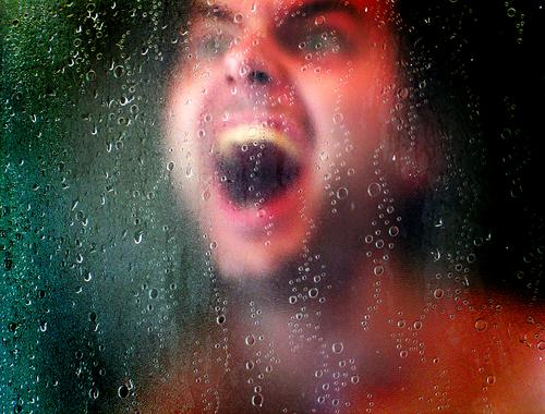 Scream to vomit Drops of water Eerie Crazy Shower (Installation) Creepy Horror film Human being Face Eyes Water Underwater photo Film industry Take a shower
