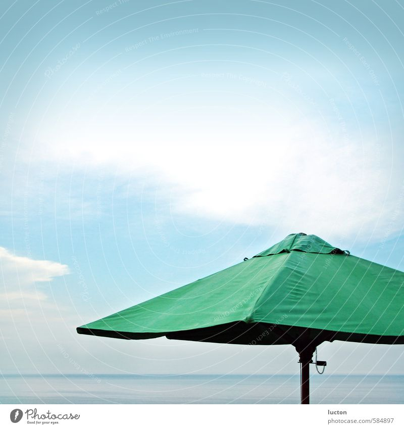 sea umbrella Nature Landscape Water Sky Clouds Summer Weather Thunder and lightning Coast Bay Ocean Black Sea Bulgaria Europe Sunshade Relaxation Free Blue