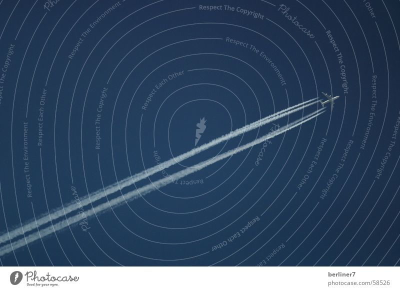 Sky Blue Vacation & Travel Far-off places Flying Speed Beautiful weather Vapor trail