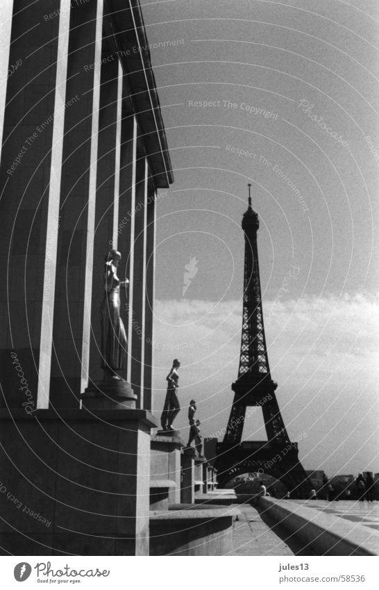Paris Eiffel Tower Building Concrete France Summer Light Black & white photo Perspective Exterior shot Architecture