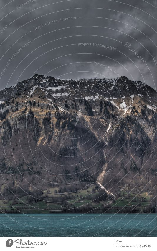 Water Sky Blue Black Clouds Dark Cold Mountain Gray Fear Threat Switzerland HDR Impressive Bernese Oberland Iseltwald