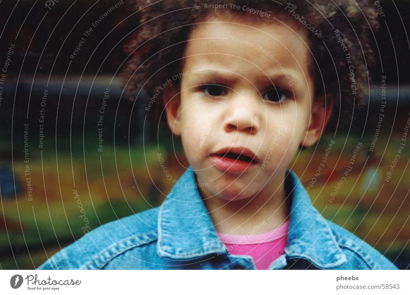 huh? Child Curl Ask Fear Jeans jacket Hair and hairstyles Distress frown