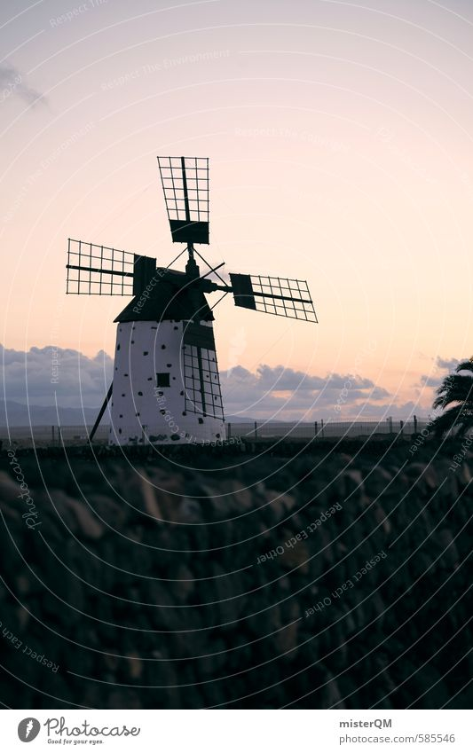 I.love.FV XLVII Art Esthetic Mill Windmill Windmill vane Sky Spain Fuerteventura Agriculture Farm Colour photo Subdued colour Exterior shot Detail Experimental