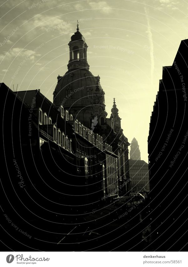 Focus on the Frauenkirche Dresden Alley Dark Black Yellow House (Residential Structure) Church spire House of worship Street Religion and faith Sky Gray