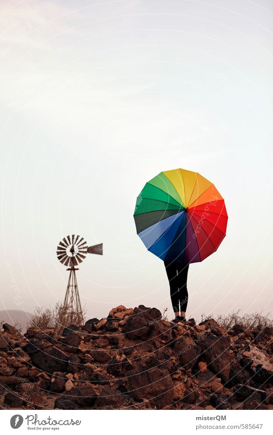 I.love.FV XL Art Esthetic Contentment Umbrella Multicoloured Patch of colour Prismatic colors Windmill Spain Idea Creativity Fashioned Work of art Colour photo