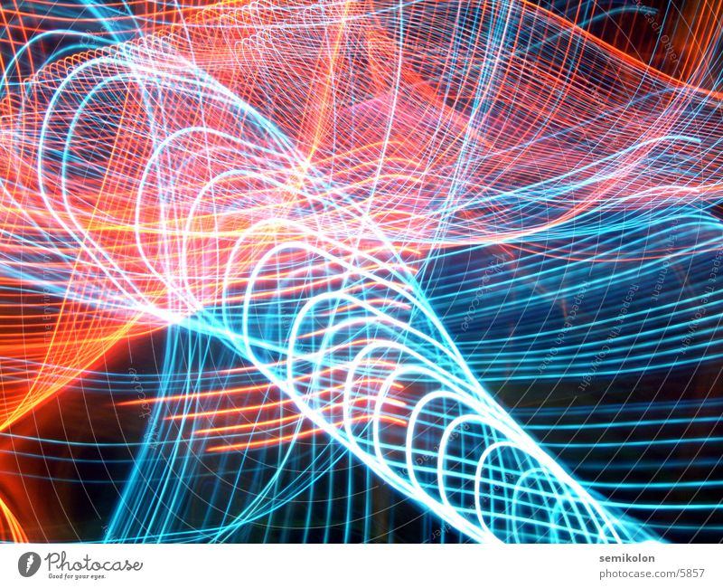 space chaos Long exposure Red Blue snake of light