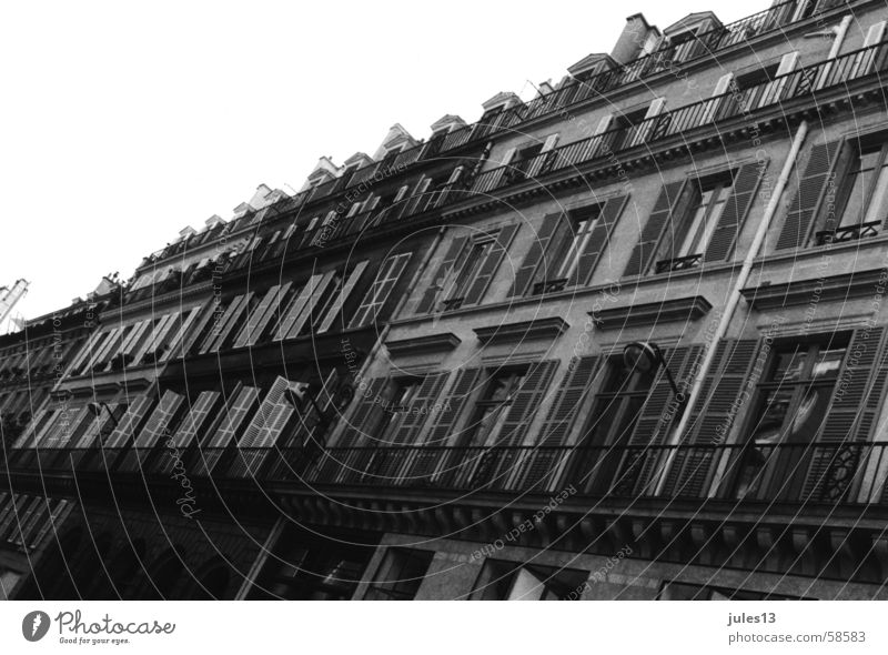 out of paris Exterior shot Wall (barrier) House (Residential Structure) Housefront Shutter Window Balcony Paris France Stone Old Perspective Black & white photo
