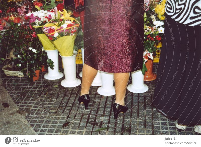 wad Multicoloured Flower Woman Patent shoes Flower stall Black Vase White Calf Legs Colour pavers Markets Floor covering Stone Exterior shot
