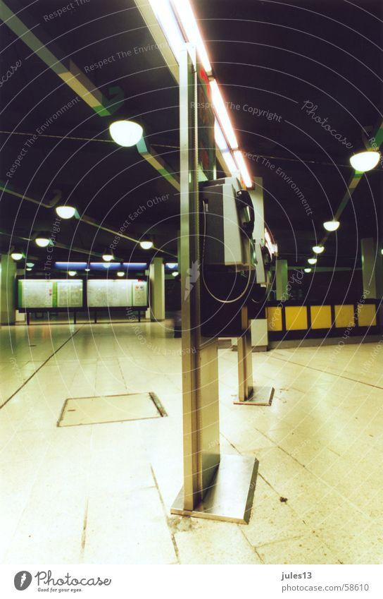Green Yellow Lamp Telephone Perspective Underground Column Flow Telecommunications