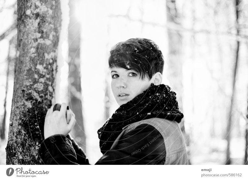 Black on White Feminine Young woman Youth (Young adults) 1 Human being 18 - 30 years Adults Winter Snow Beautiful Black & white photo Exterior shot Day