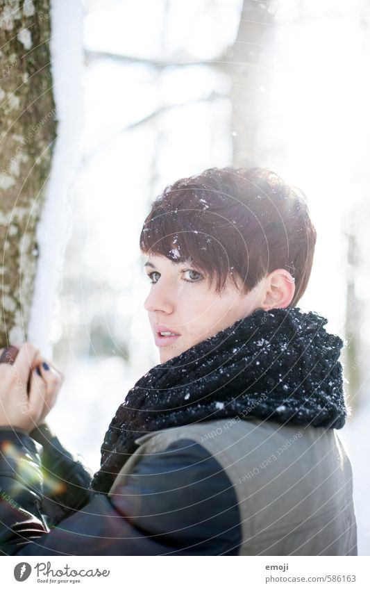 cold Feminine Young woman Youth (Young adults) 1 Human being 18 - 30 years Adults Winter Snow Snowfall Short-haired Beautiful Cold Colour photo Exterior shot