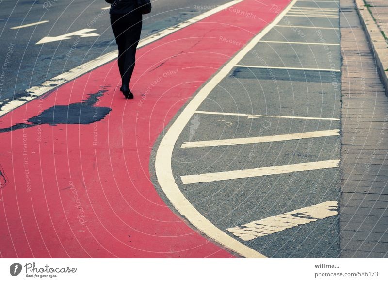 Human being Woman Red Black Adults Street Lanes & trails Gray Going Legs Dream Elegant Lifestyle Walking Target Asphalt