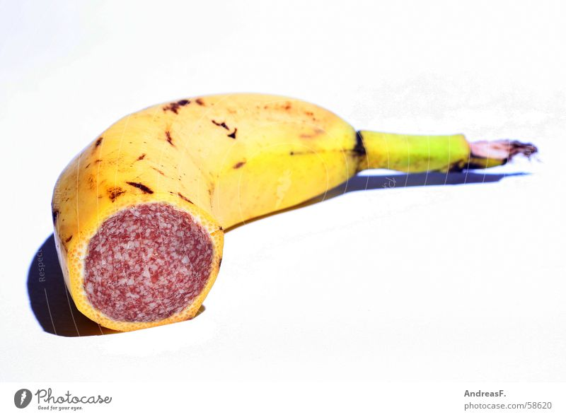 banami Tofu Trick Banana Salami Sausage Still Life Montage Yellow Meat Manipulation Genetic engineering Delicious Sense of taste Collage Nutrition