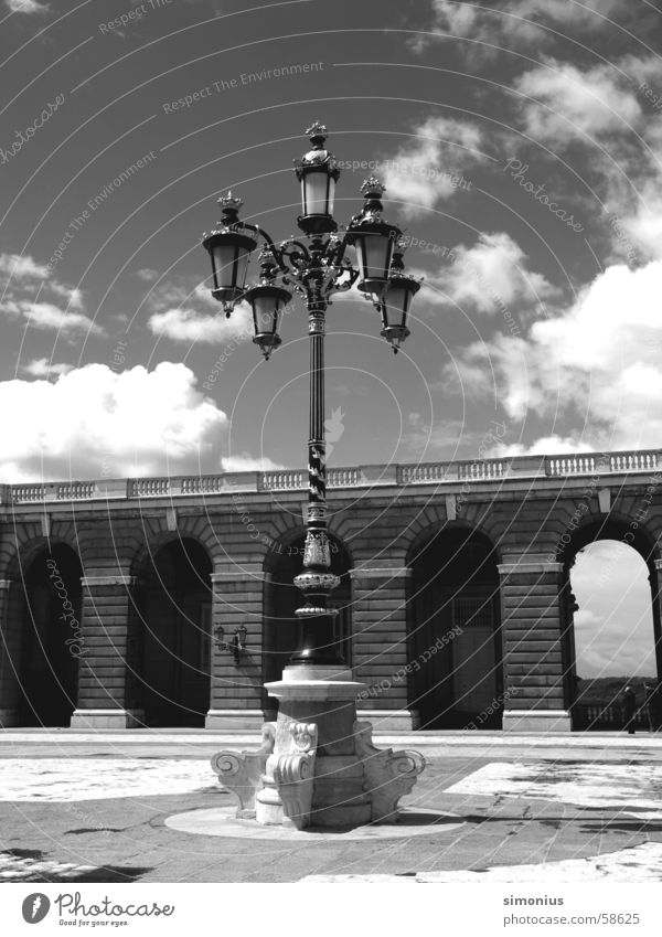 skylight Madrid Palace Lamp Street lighting Clouds Black & white photo forecourt
