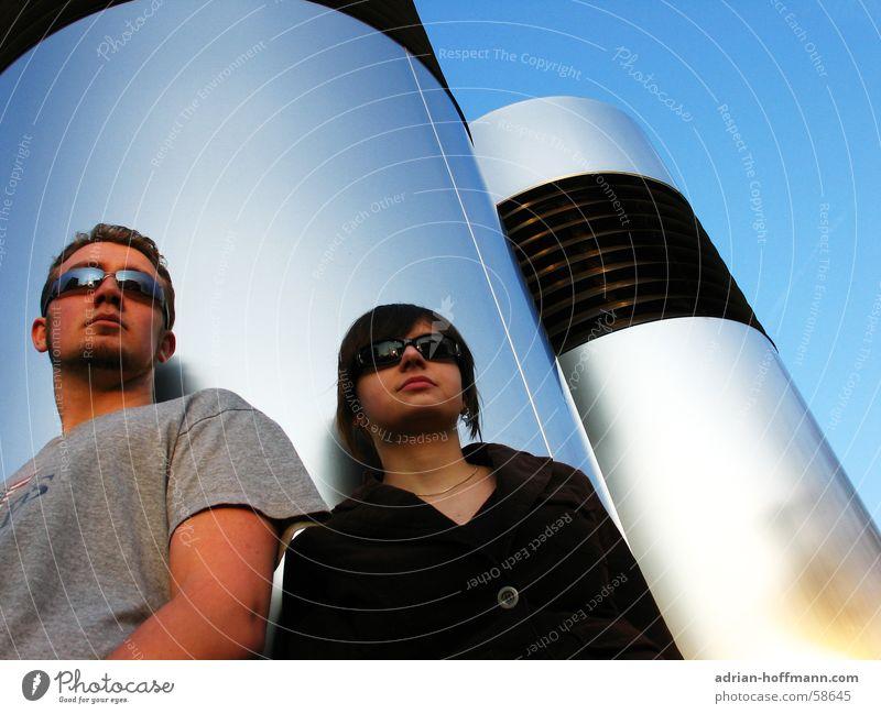 Woman Human being Man Sky Sun Summer Couple Cool (slang) Chimney Sunglasses Column