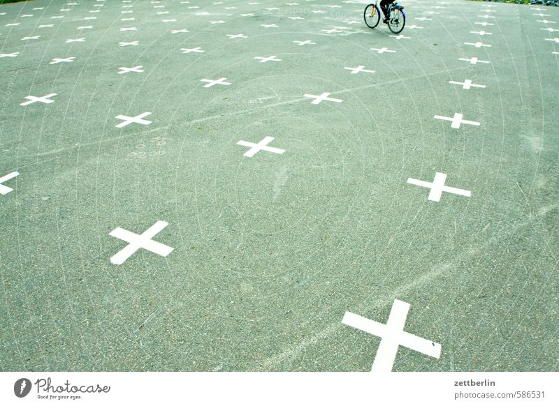 Bicycle on the Matrix Asphalt Berlin Relaxation Cycling Cycling tour Racing cyclist Garden triangular track Crucifix Recreation area Park Parking lot Places