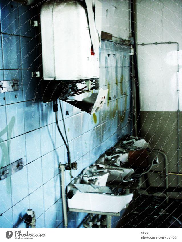 paid for... Bathroom Sink Broken Destruction damage Blue