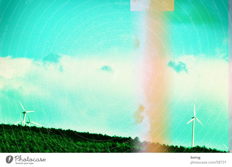 Ecos who live behind the woods one. Wind energy plant Alternative Renewable Electricity Broken Disturbance Electricity pylon Paper jam Renewable energy
