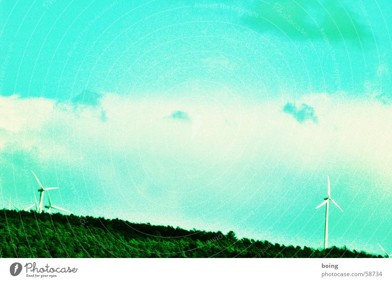 Ecos who live behind the woods two years ago. Wind energy plant Alternative Renewable Electricity Electricity pylon Renewable energy Drugstore Colour