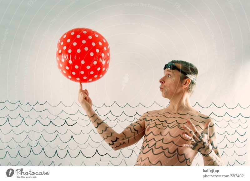 Aquarius Lifestyle Leisure and hobbies Playing Sports Swimming & Bathing Human being Masculine Man Adults Body Skin Head 1 Graffiti Rubber ball Beach ball Point