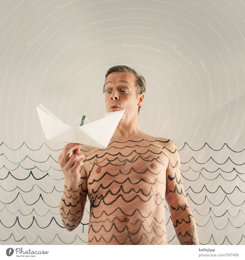 set sail - 2014 Human being Masculine Man Adults Body Skin Head Sign Playing Water Waves Navigation Watercraft Paper boat Drawing Water line Swimming & Bathing
