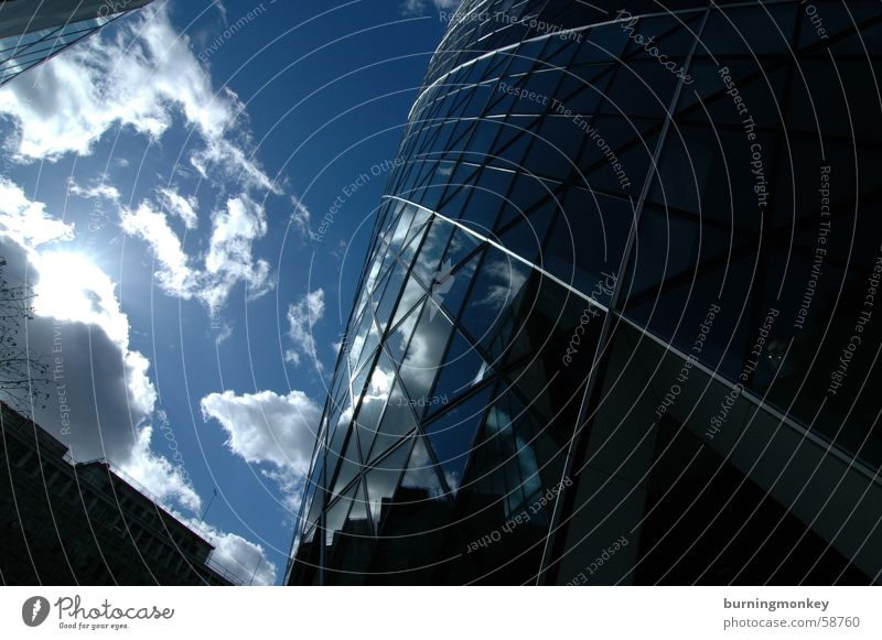 Upward-looking No.1 Clouds High-rise Building Window Triangle Looking Wide angle Sky Blue Sun Beautiful weather Reflection mirrored Glass wide aspect Look up