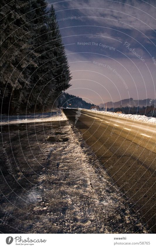 Bright Road Night Dark Black Forest Narrow White Lighting Clouds Open Long exposure Exterior shot Street Snow Sky Blue Freedom Honest Far-off places Landscape