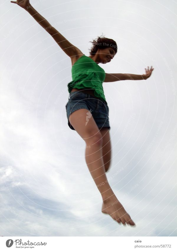 Sky Beautiful Young woman Clouds Joy Happy Laughter Legs Freedom Flying Jump Free Happiness Tall Posture T-shirt