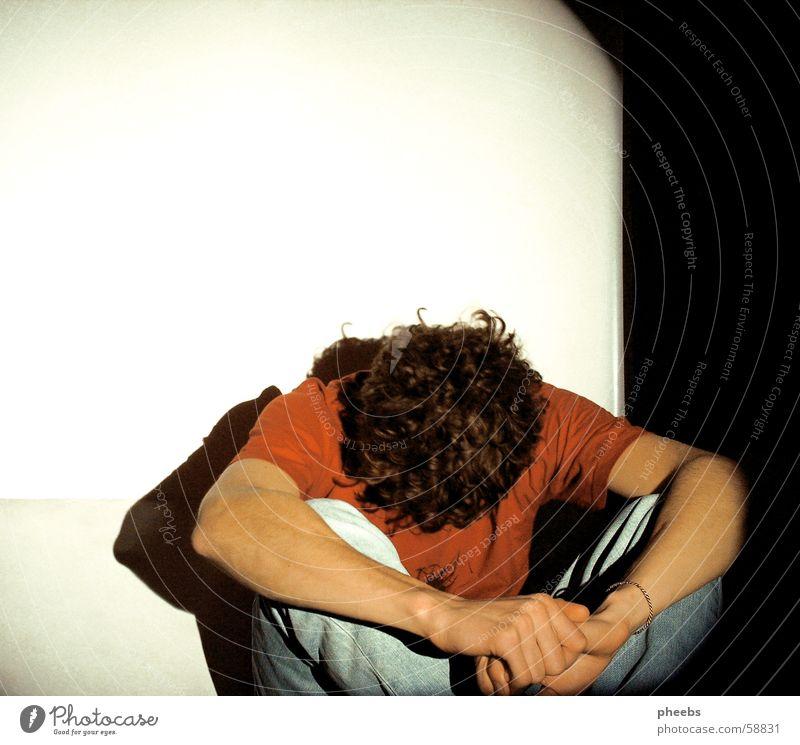 Man Hand White Red Calm Black Dark Head Sadness Legs Bright Room Arm T-shirt Fatigue Motionless
