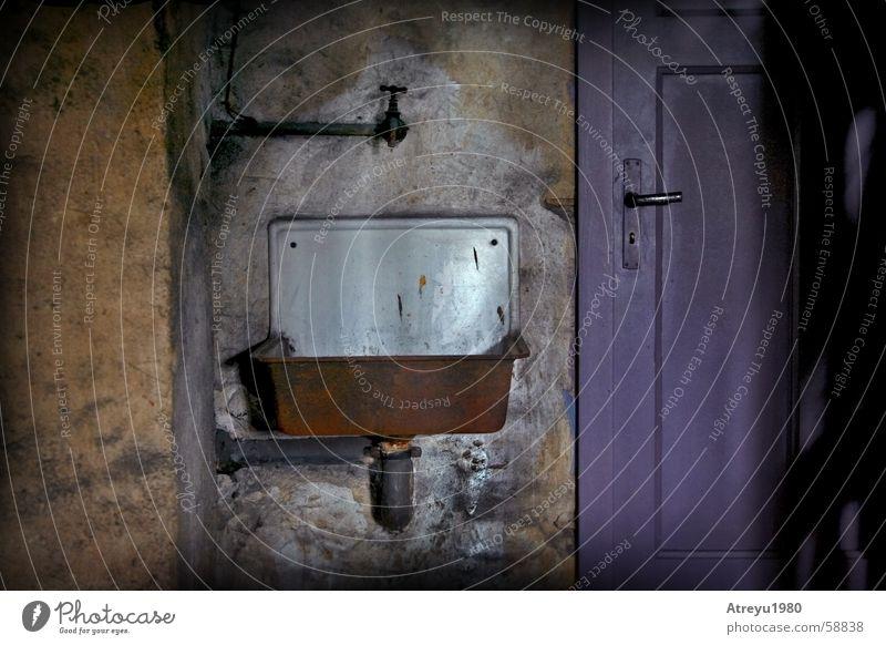 Old Dark Door Pipe Rust Door handle Crack & Rip & Tear Cellar Tap Sink