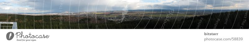 homeland panorama Panorama (View) Forest Green Field Clouds Hill Home country Town Chemnitz Saxony Vantage point Lookout tower Far-off places Sky broadly large