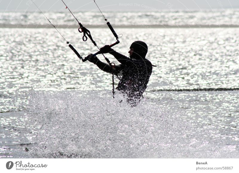 kite boarding Kiting Ocean Aquatics Coast Vacation & Travel Leisure and hobbies Wet Rope Windsurfing Relaxation Inject Light Silhouette Water Funsport Sports