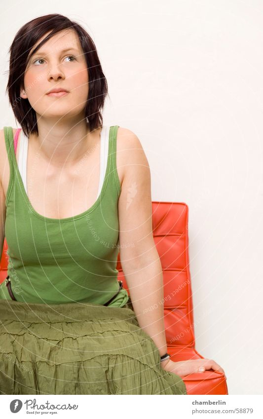 color Woman Red Green Portrait photograph barcelona chair Nature Song Fashion