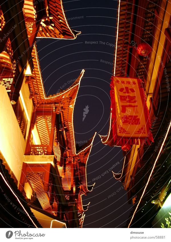 Chinese Evening China Light Fairy lights Moody Dusk Shanghai Night Asia Lighting yu garden old town Architecture