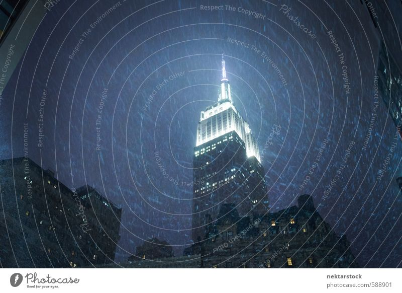 Chrysler Building in New York with snow Economy Business Company Career Winter Bad weather Storm Gale Ice Frost Snow Snowfall Manhattan New York City USA