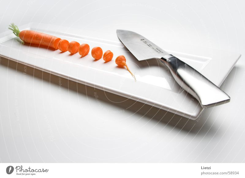 White Calm Vegetable Metal Bright Small Orange Part Crockery Plate Knives Flat Cut Rectangle Carrot Food