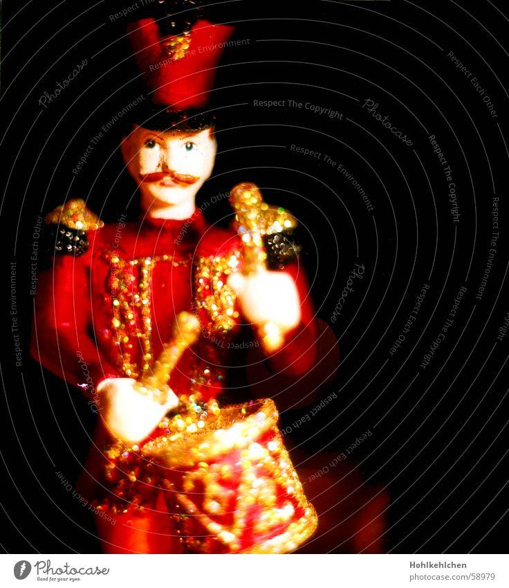 Christmas & Advent Red Black Music Glittering Decoration Embellish Beat Drum Festive Uniform Antique