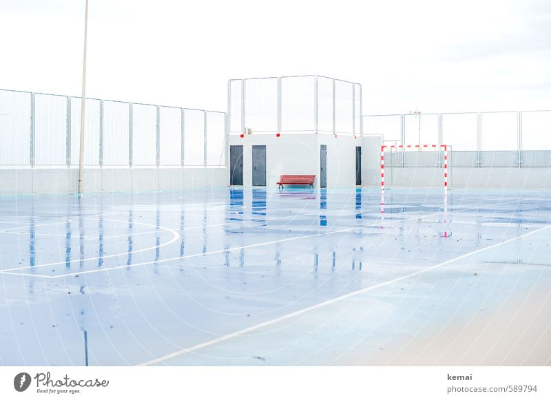 No sports today Leisure and hobbies Sporting grounds Sporting Complex Goal handball goal rubber space Sports Bad weather Rain Glittering Wet Blue White Fence
