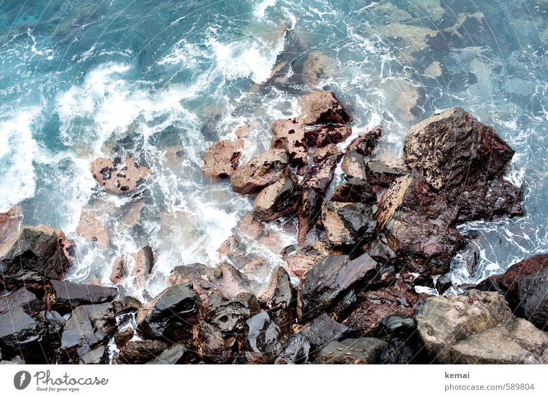 revolution Environment Nature Elements Water Sunlight Summer Rock Waves Coast Ocean Fresh Wet Wild Roar Steep Hard Stone Colour photo Subdued colour