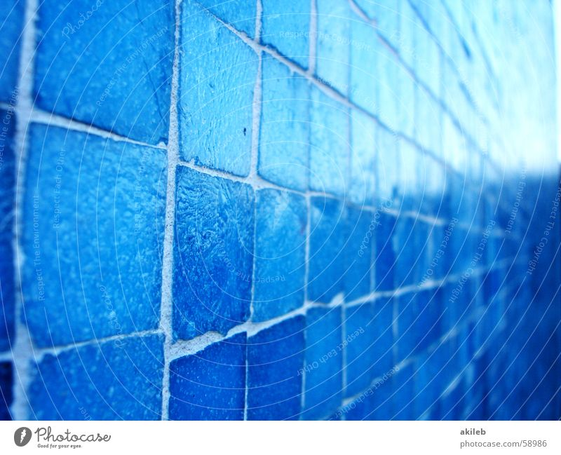 Blue Wall (building) Glittering Perspective Cool (slang) Tile Square Craft (trade) Light blue Handcrafts