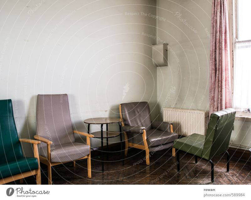 waiting room Interior design Furniture Armchair Chair Room Old Gloomy Broken Boredom Drape Wait Waiting room Sit Uninhabited Colour photo Exterior shot Deserted