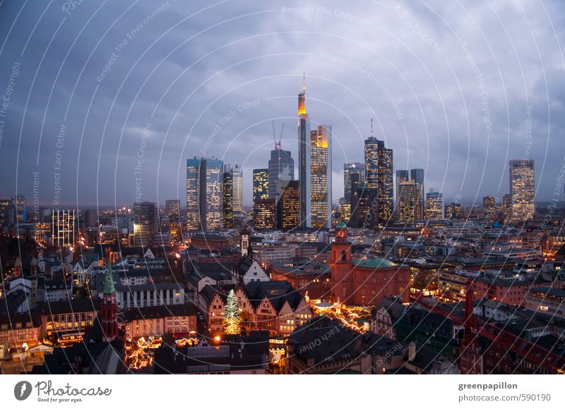 Skyline Frankfurt - Christmas Christmas Fair Hesse Germany Downtown Old town House (Residential Structure) Bank building Church Manmade structures Building