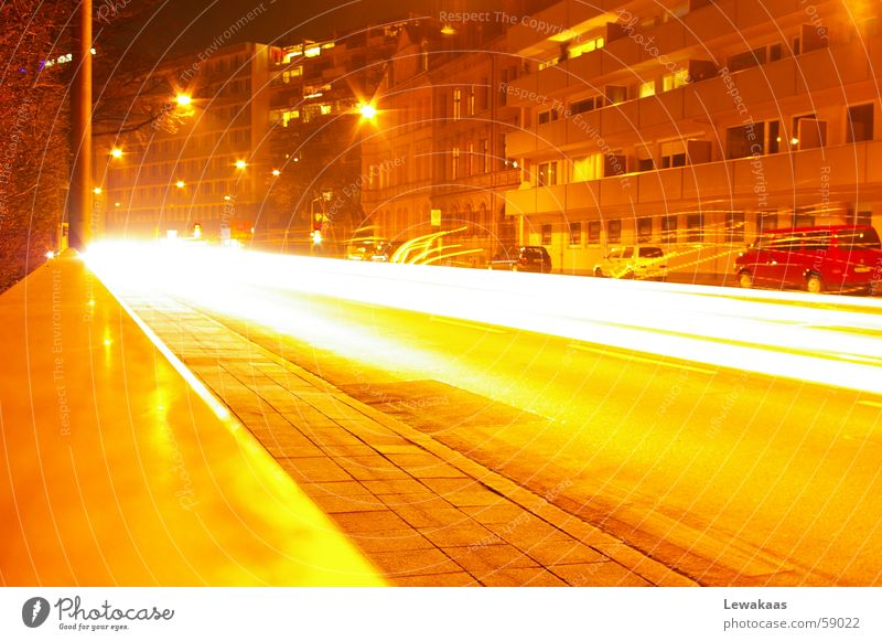 Street at night Town Nuremberg Light Night Dream Long exposure