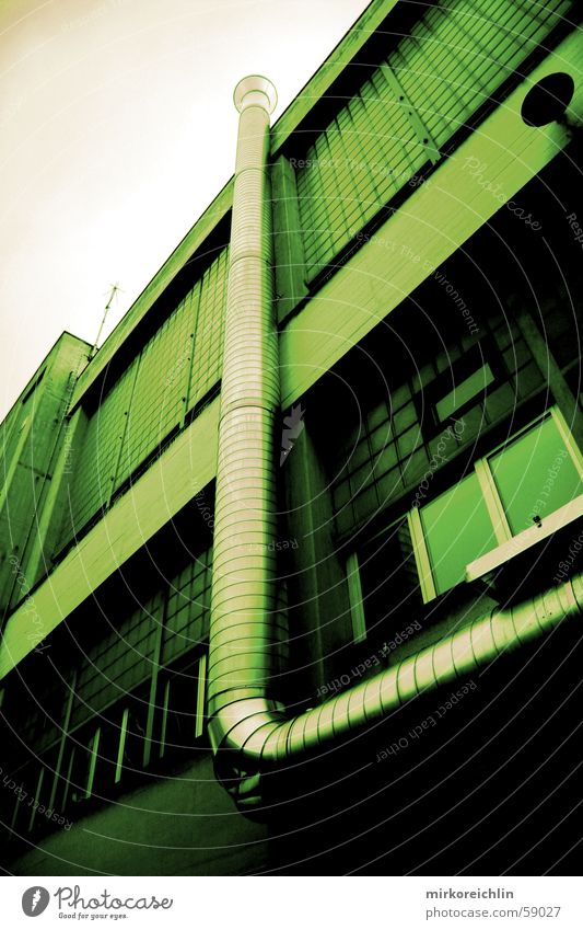 Green Industry Strong Switzerland Rüti 2006 Building House (Residential Structure) Factory Ventilation Industrial Photography contrast sulzer canon façade Pipe