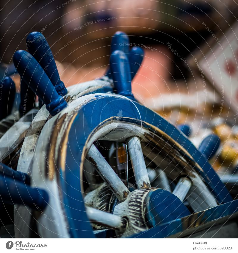 tax Wood Old Round Blue White Steering wheel Souvenir Kitsch Wheel Maritime Colour photo Interior shot Copy Space right Shallow depth of field