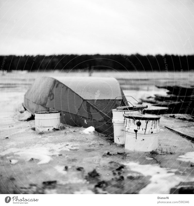 paint Nature Landscape Cloudless sky Winter Ice Frost Lakeside River bank Fishing boat Old Dirty Bucket Dye Varnish Analog Medium format Black & white photo