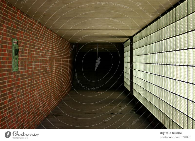 Architecture Emergency Call Tunnel Pedestrian Concrete Brick Wall (building) Fear Panic Duesseldorf Underpass Glass Floor covering Blanket Loneliness tonhalle