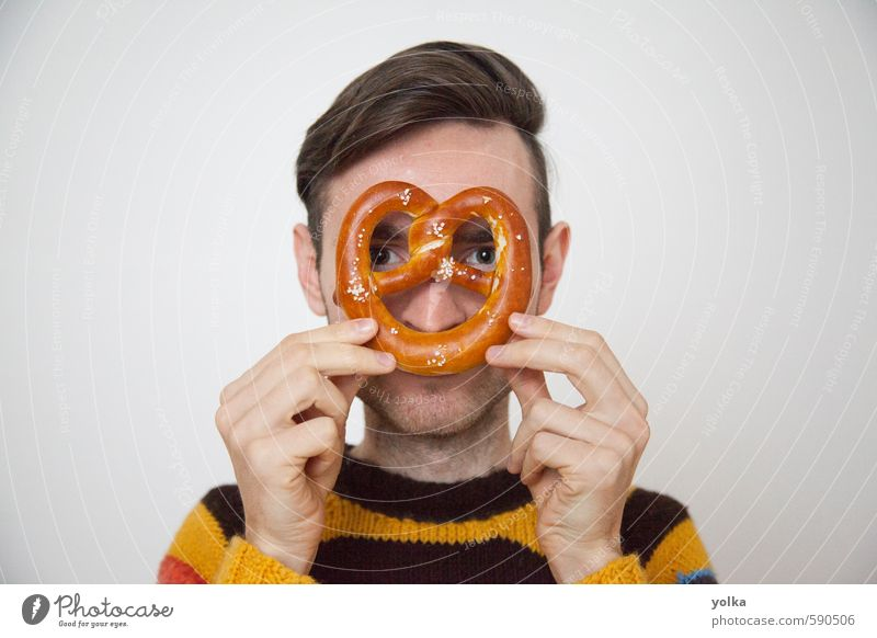 German food Human being Youth (Young adults) Man Hand Young man Joy 18 - 30 years Adults Eating Funny Lifestyle Head Food Masculine Kitchen Breakfast