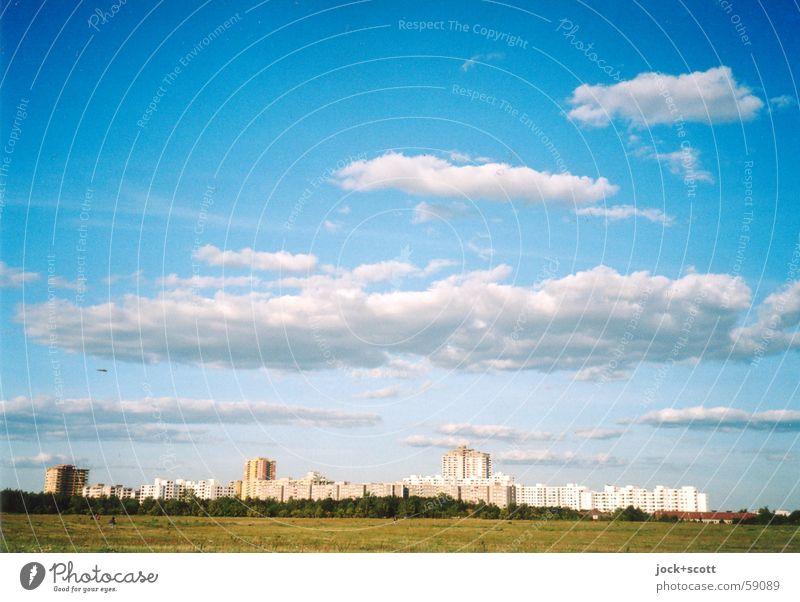 Blue Colour Summer Relaxation Calm Clouds Far-off places Meadow Natural Bright Horizon Air Idyll Modern High-rise Trip