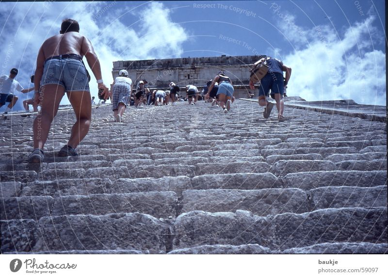 step by step Temple Chichen Itza Yucatan Maya Clouds Stairs Sky Mexico Pyramid climb the stairs Upward Above